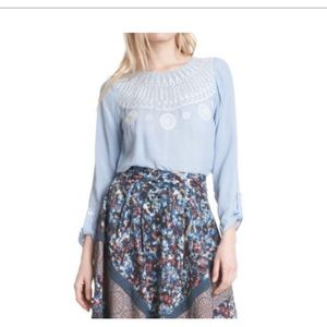 Plenty by Tracey Reese chambray embroidered blouse